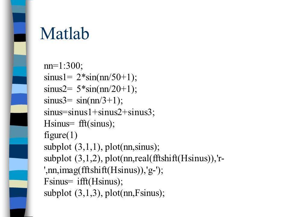 Matlab nn=1:300; sinus1= 2*sin(nn/50+1); sinus2= 5*sin(nn/20+1);