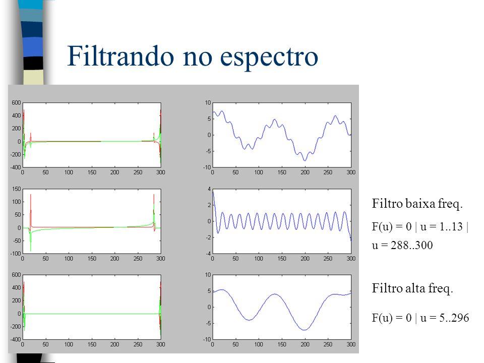 Filtrando no espectro Filtro baixa freq. Filtro alta freq.