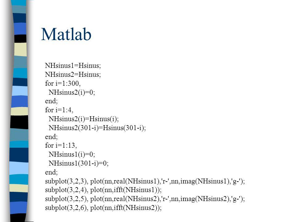 Matlab NHsinus1=Hsinus; NHsinus2=Hsinus; for i=1:300, NHsinus2(i)=0;