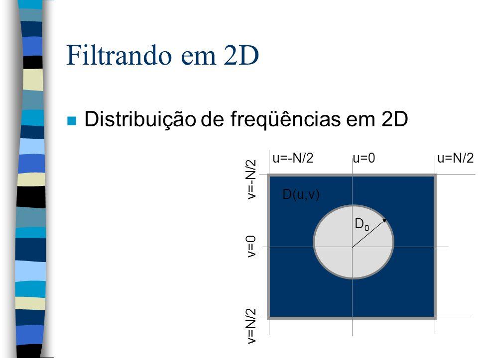 Filtrando em 2D Distribuição de freqüências em 2D u=-N/2 u=0 u=N/2
