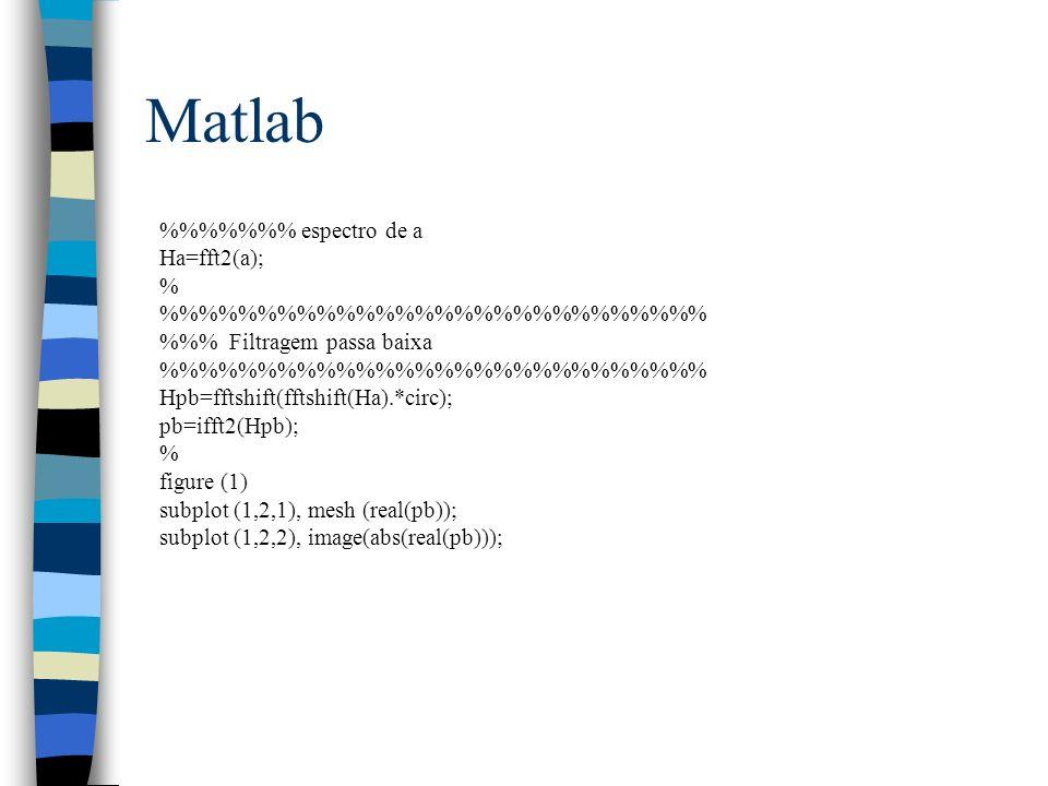 Matlab %%%%%%% espectro de a Ha=fft2(a); %