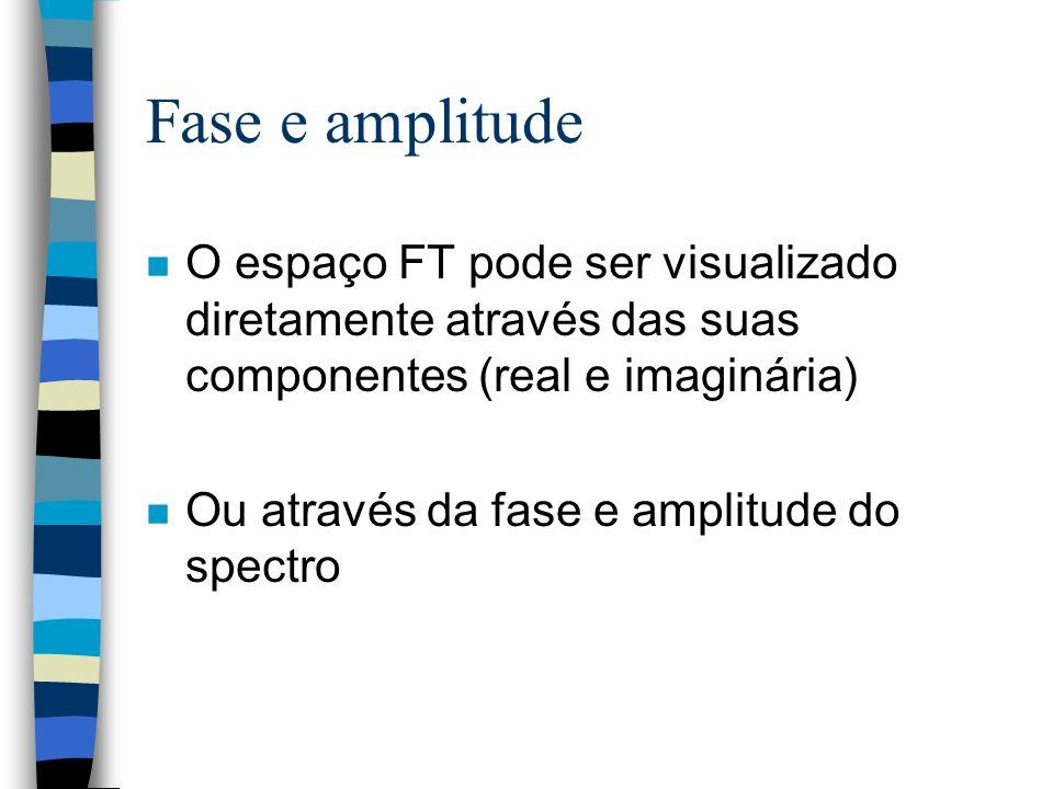 Fase e amplitude O espaço FT pode ser visualizado diretamente através das suas componentes (real e imaginária)