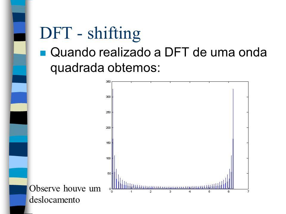 DFT - shifting Quando realizado a DFT de uma onda quadrada obtemos: