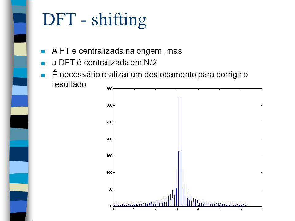 DFT - shifting A FT é centralizada na origem, mas