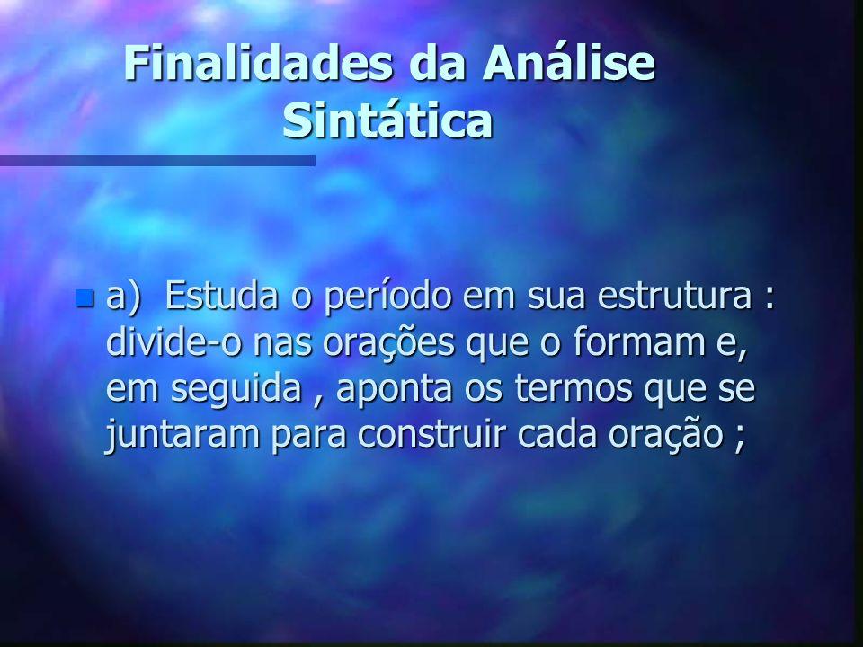 Finalidades da Análise Sintática