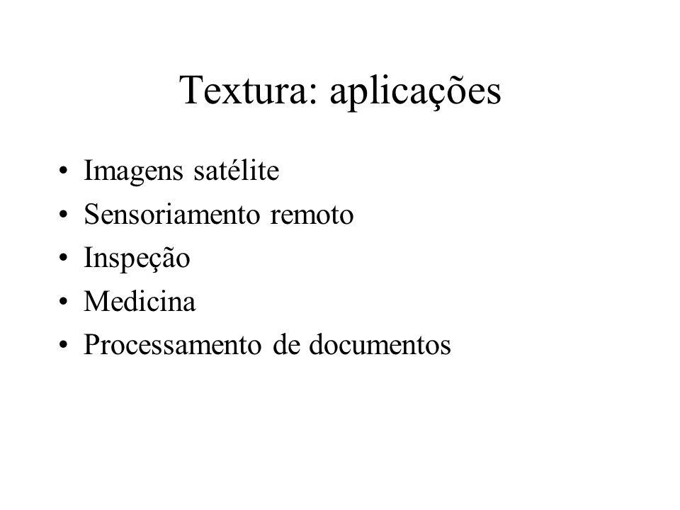Textura: aplicações Imagens satélite Sensoriamento remoto Inspeção