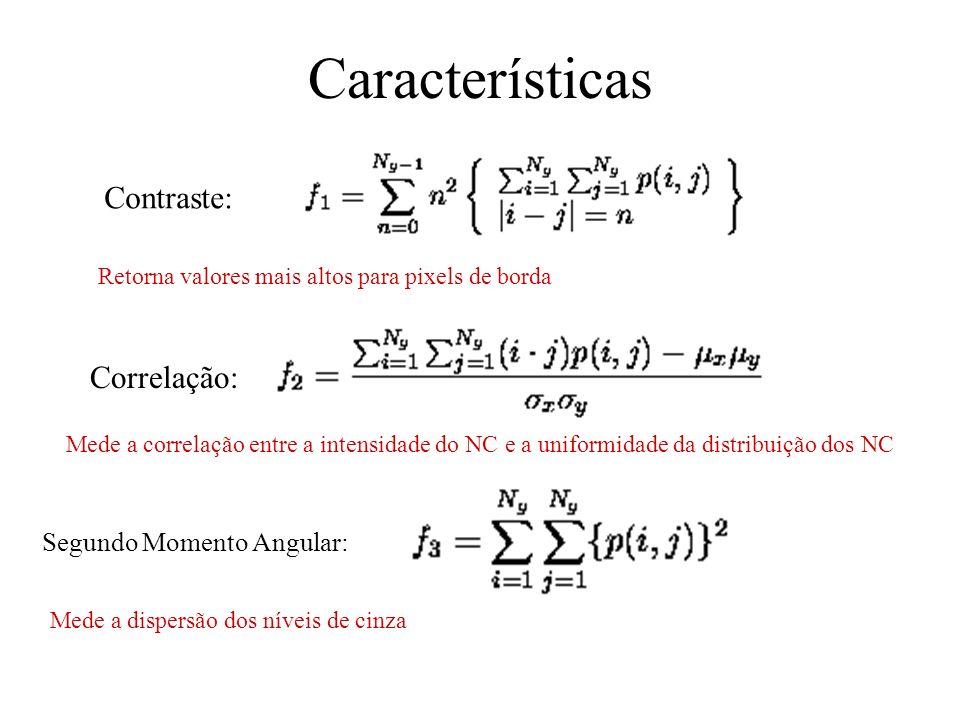 Características Contraste: Correlação: Segundo Momento Angular:
