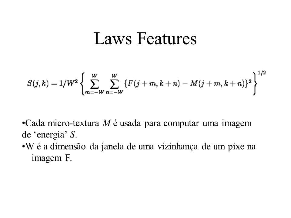 Laws Features Cada micro-textura M é usada para computar uma imagem