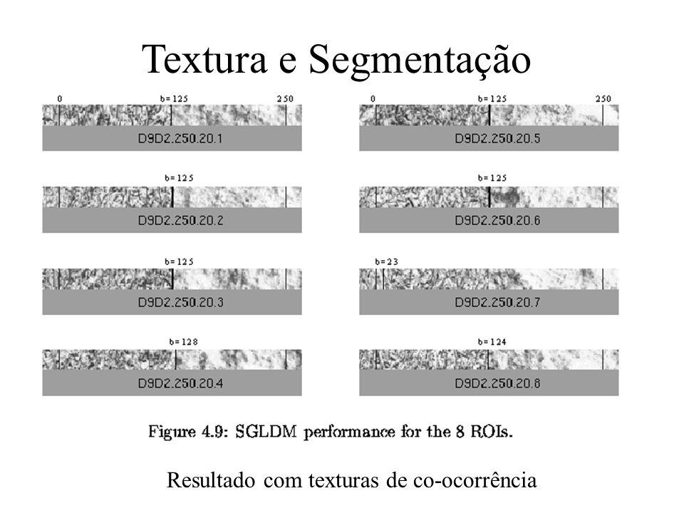 Textura e Segmentação Resultado com texturas de co-ocorrência