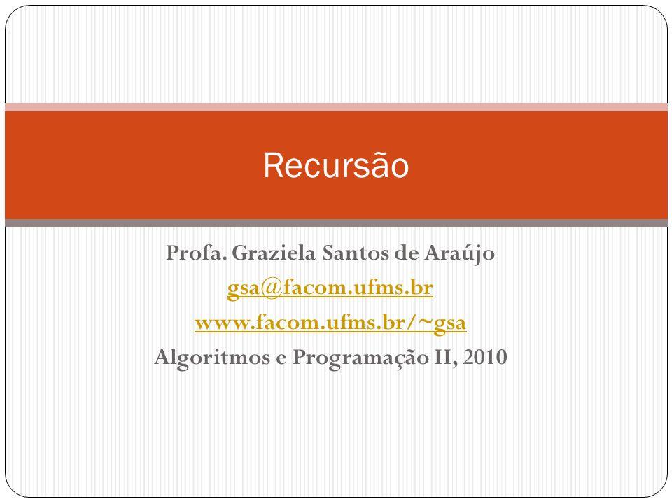 Profa. Graziela Santos de Araújo Algoritmos e Programação II, 2010