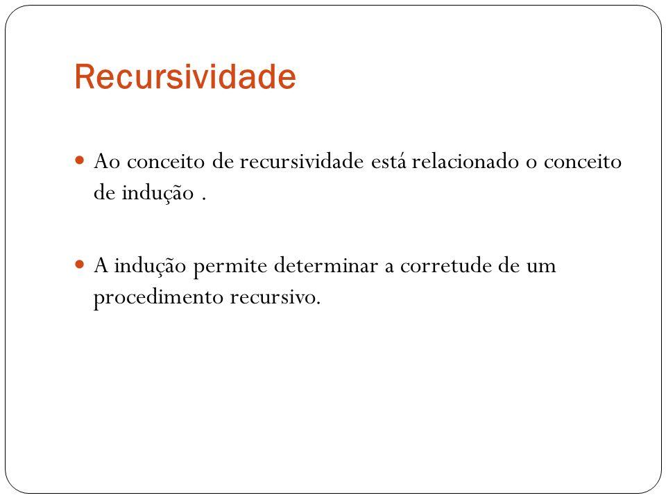 Recursividade Ao conceito de recursividade está relacionado o conceito de indução .