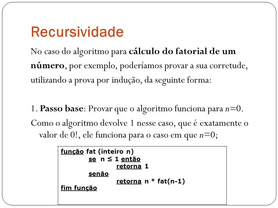 Recursividade No caso do algoritmo para cálculo do fatorial de um