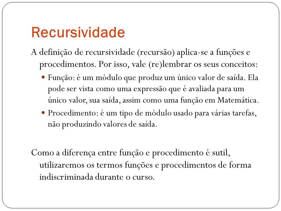 Recursividade A definição de recursividade (recursão) aplica-se a funções e procedimentos. Por isso, vale (re)lembrar os seus conceitos: