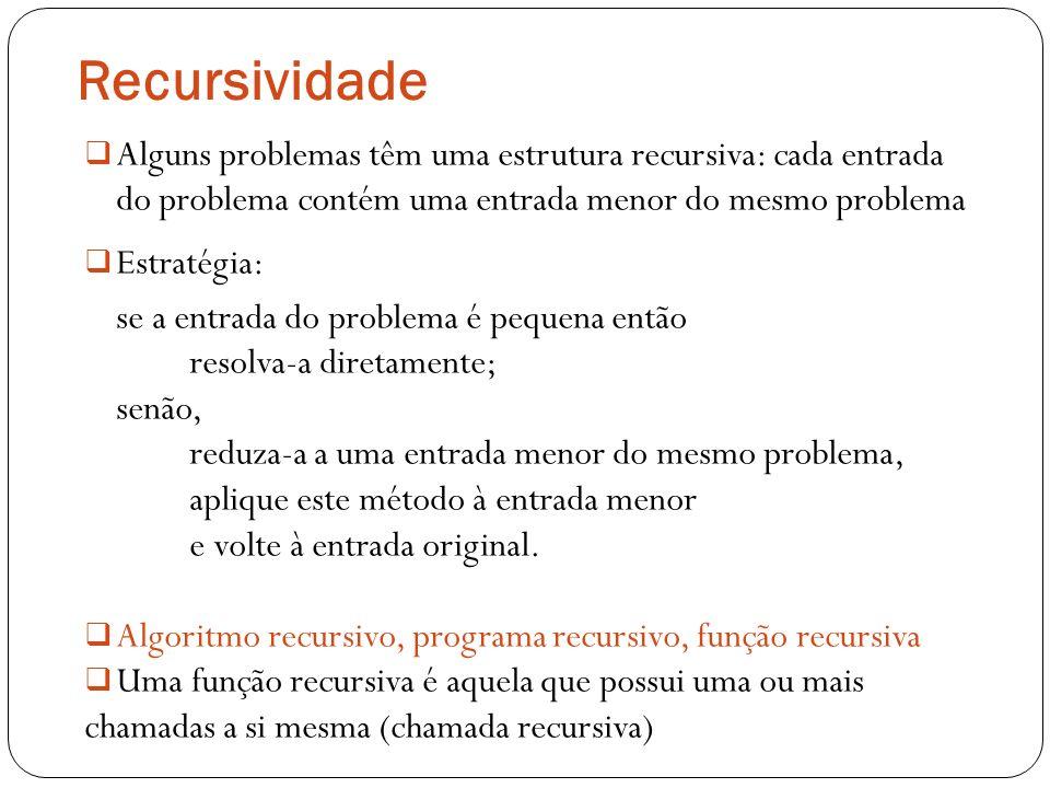 Recursividade Alguns problemas têm uma estrutura recursiva: cada entrada do problema contém uma entrada menor do mesmo problema.