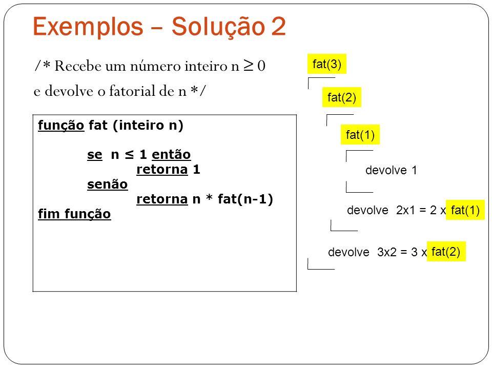Exemplos – Solução 2 /* Recebe um número inteiro n ≥ 0 e devolve o fatorial de n */ fat(3) fat(2)