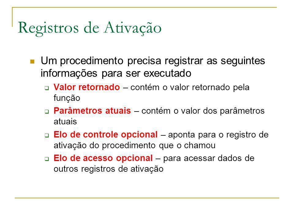 Registros de Ativação Um procedimento precisa registrar as seguintes informações para ser executado.