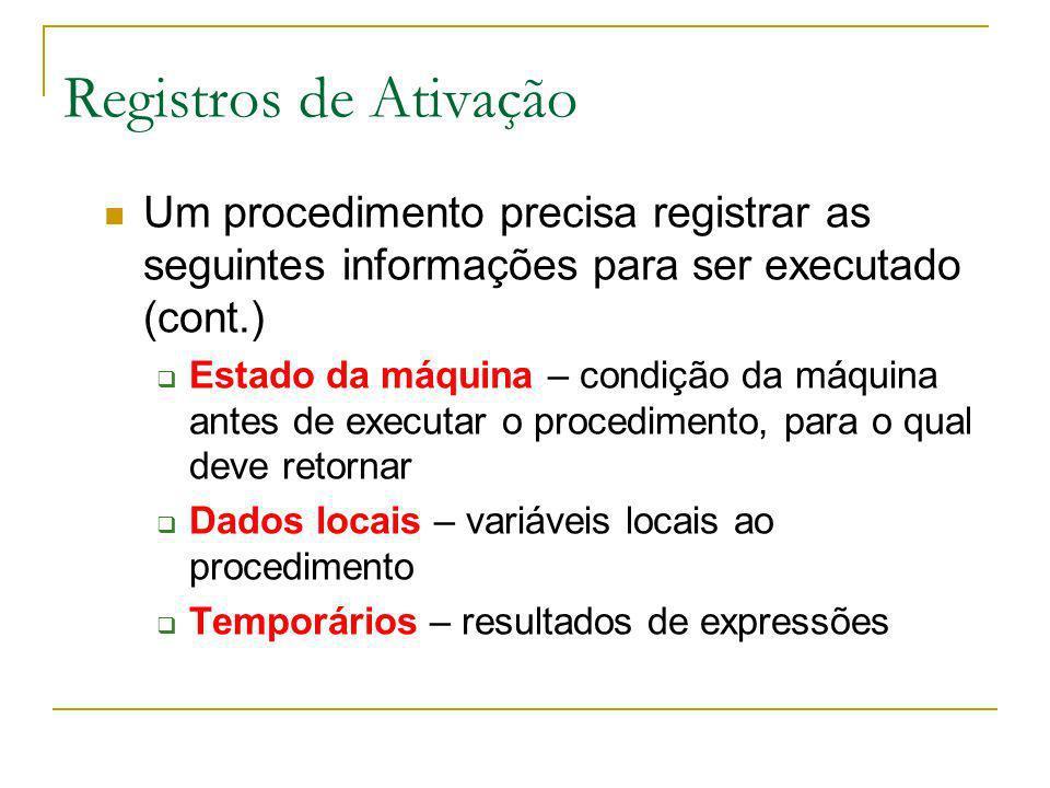 Registros de Ativação Um procedimento precisa registrar as seguintes informações para ser executado (cont.)
