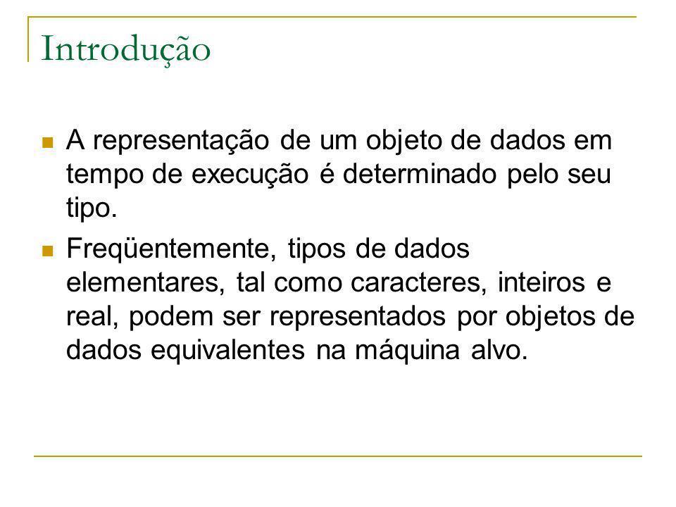 Introdução A representação de um objeto de dados em tempo de execução é determinado pelo seu tipo.
