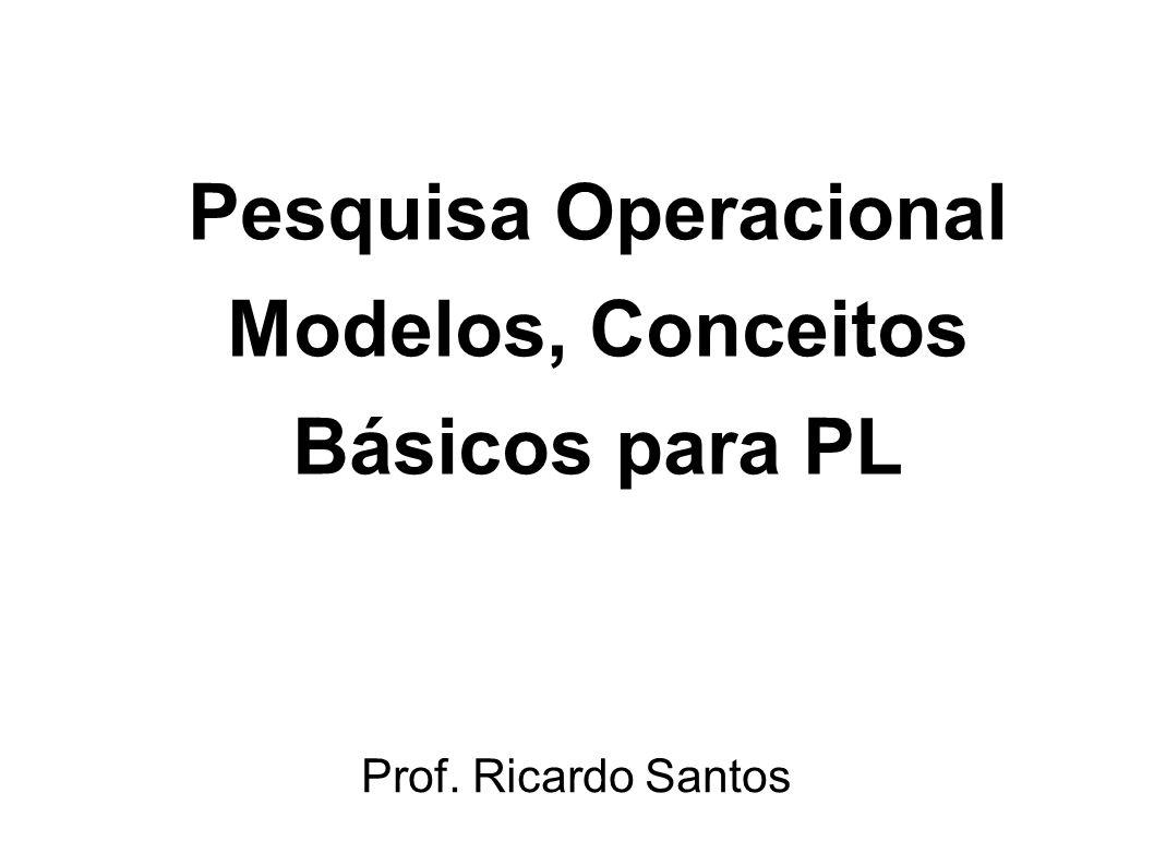 Pesquisa Operacional Modelos, Conceitos Básicos para PL