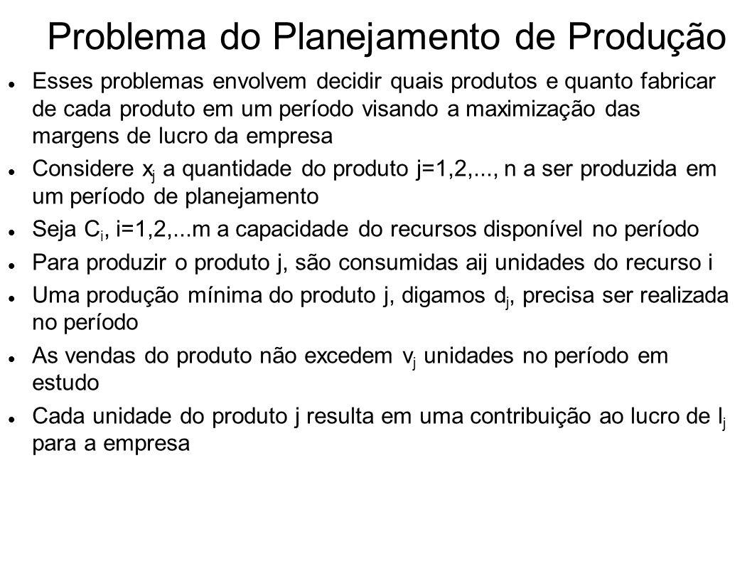 Problema do Planejamento de Produção