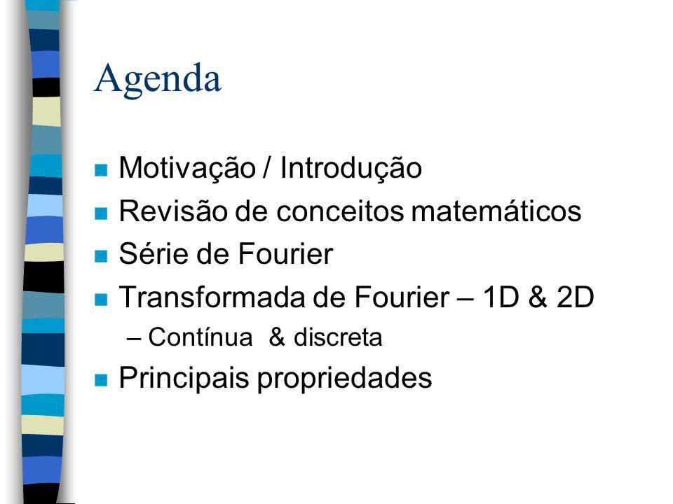 Agenda Motivação / Introdução Revisão de conceitos matemáticos