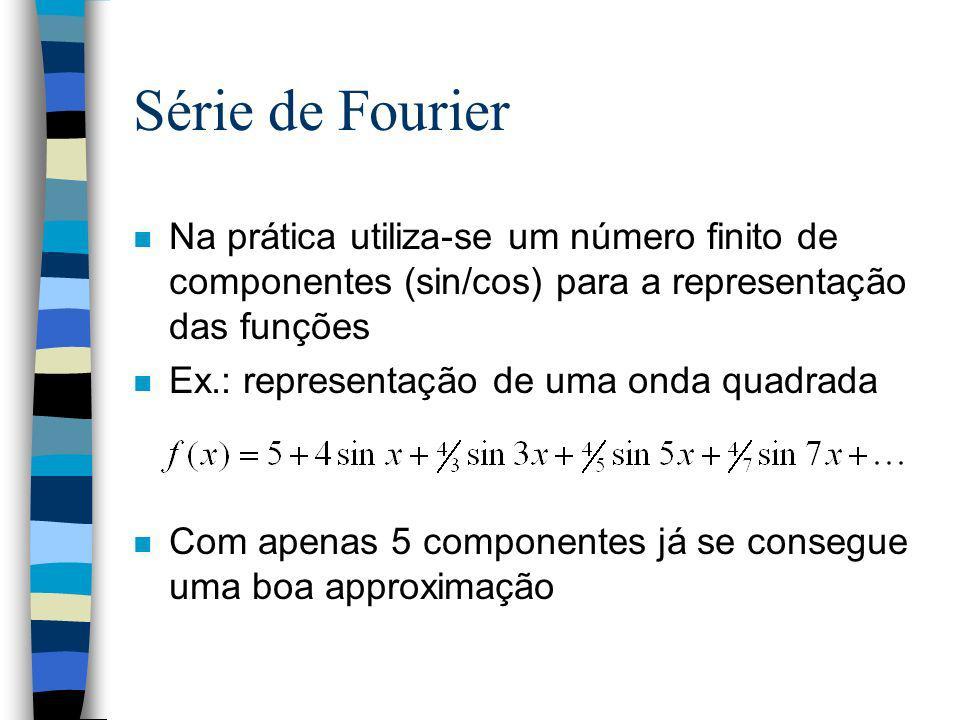 Série de Fourier Na prática utiliza-se um número finito de componentes (sin/cos) para a representação das funções.