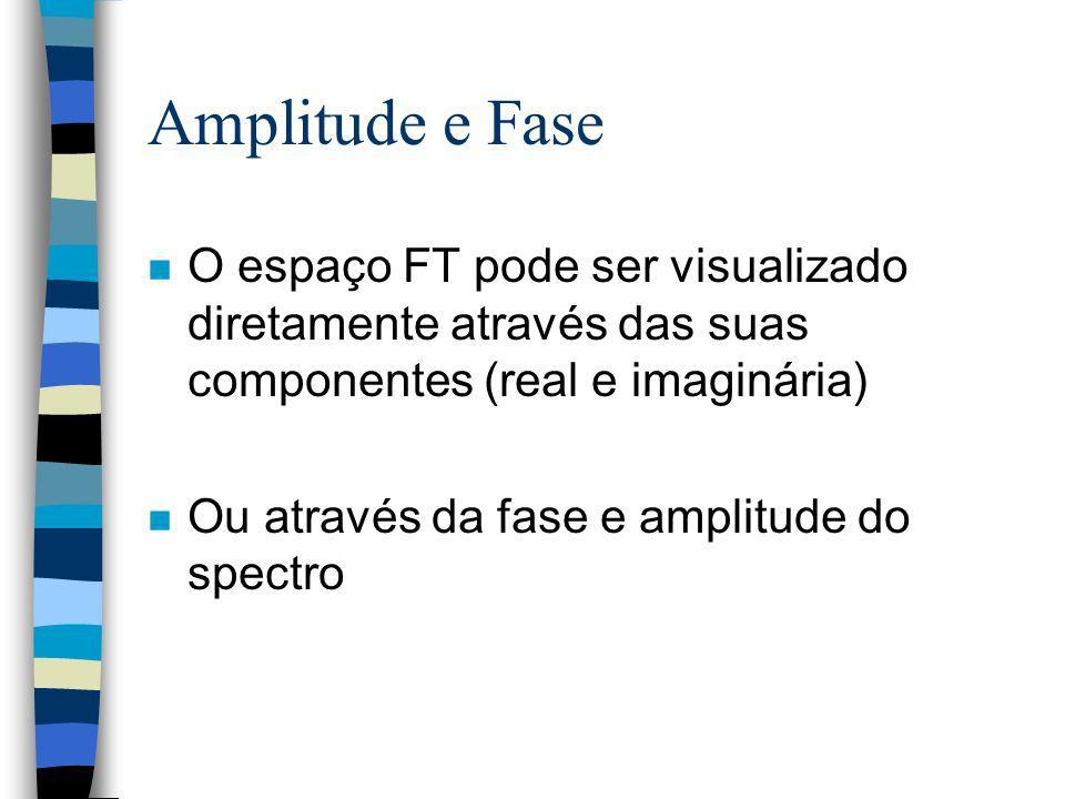 Amplitude e Fase O espaço FT pode ser visualizado diretamente através das suas componentes (real e imaginária)