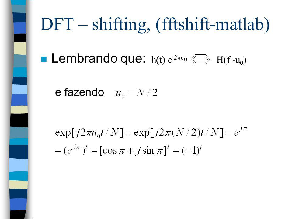 DFT – shifting, (fftshift-matlab)
