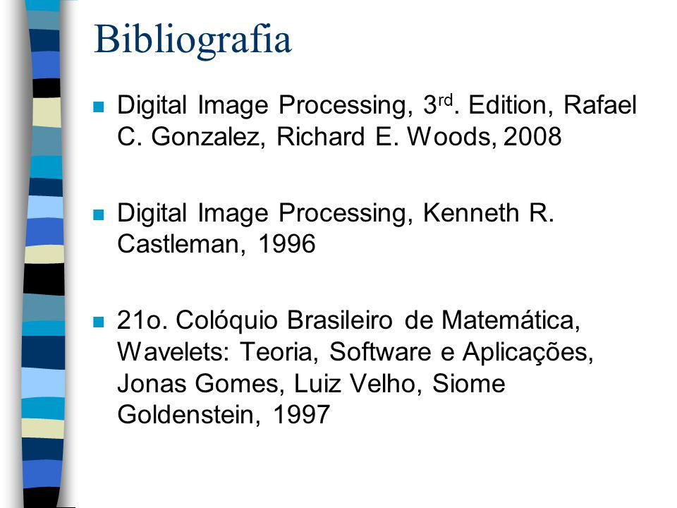 Bibliografia Digital Image Processing, 3rd. Edition, Rafael C. Gonzalez, Richard E. Woods, 2008.