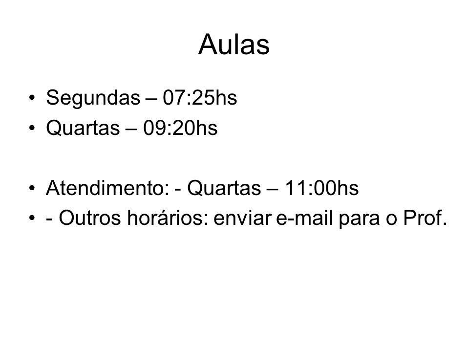 Aulas Segundas – 07:25hs Quartas – 09:20hs