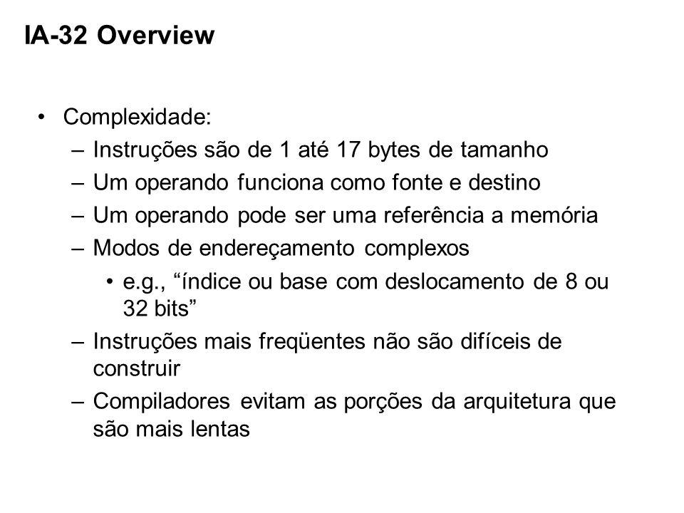 IA-32 Overview Complexidade: