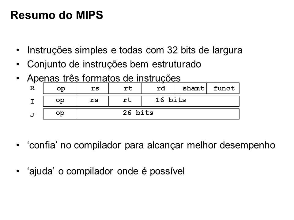Resumo do MIPS Instruções simples e todas com 32 bits de largura