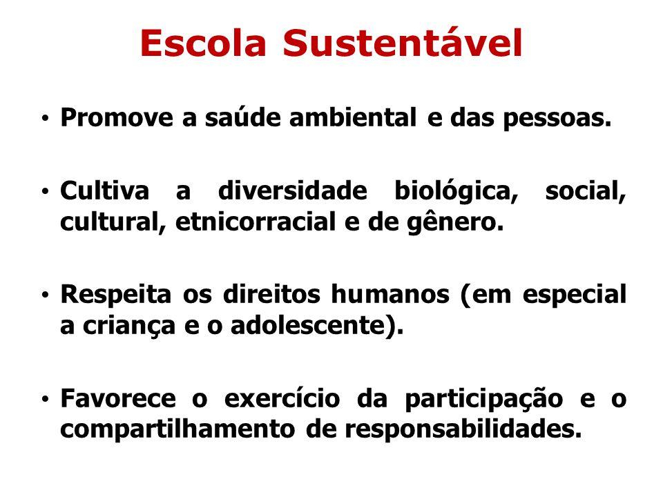 Escola Sustentável Promove a saúde ambiental e das pessoas.