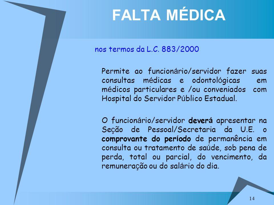 FALTA MÉDICA nos termos da L.C. 883/2000