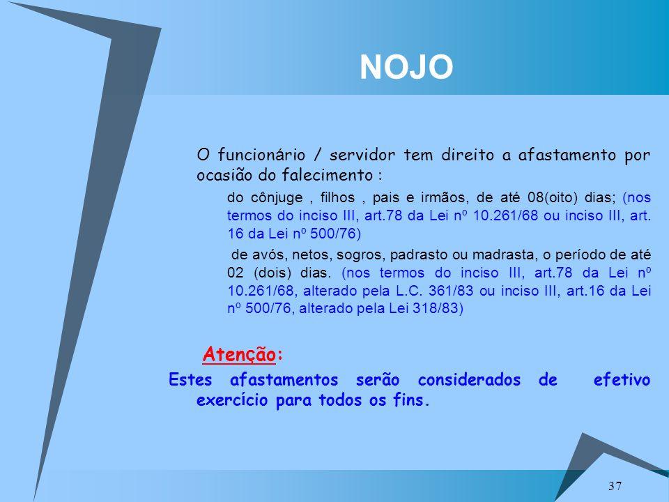 NOJO O funcionário / servidor tem direito a afastamento por ocasião do falecimento :