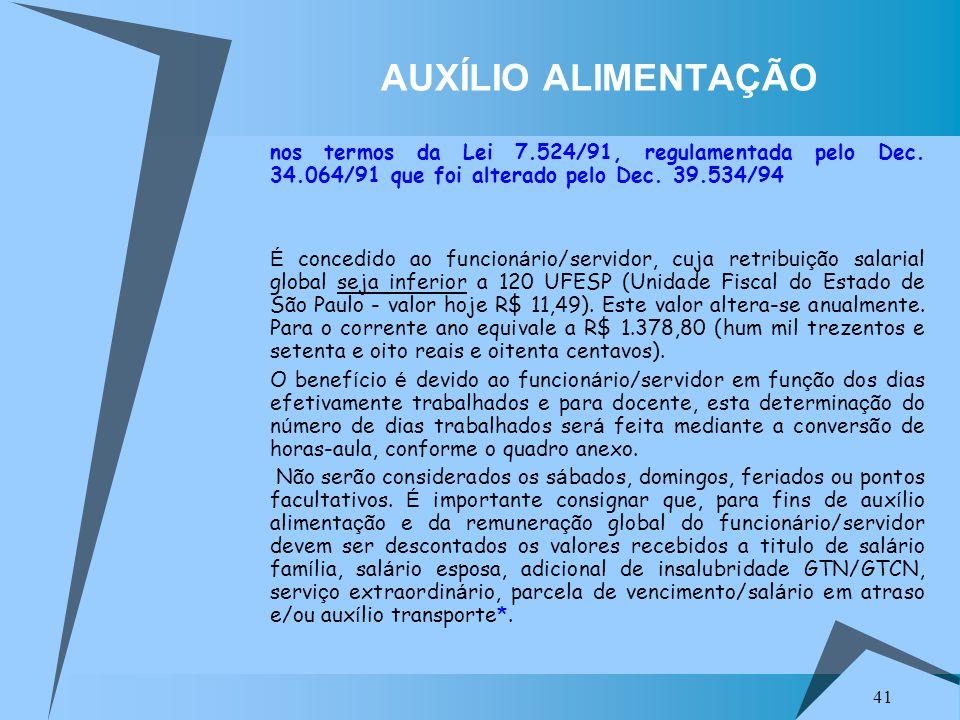 AUXÍLIO ALIMENTAÇÃO nos termos da Lei 7.524/91, regulamentada pelo Dec. 34.064/91 que foi alterado pelo Dec. 39.534/94.