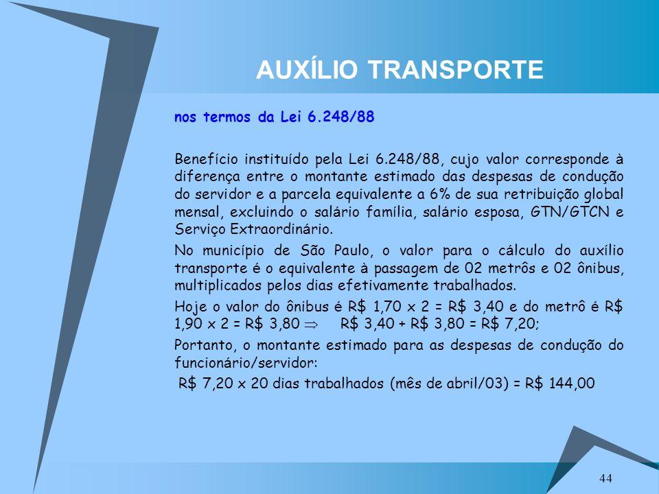 AUXÍLIO TRANSPORTE nos termos da Lei 6.248/88