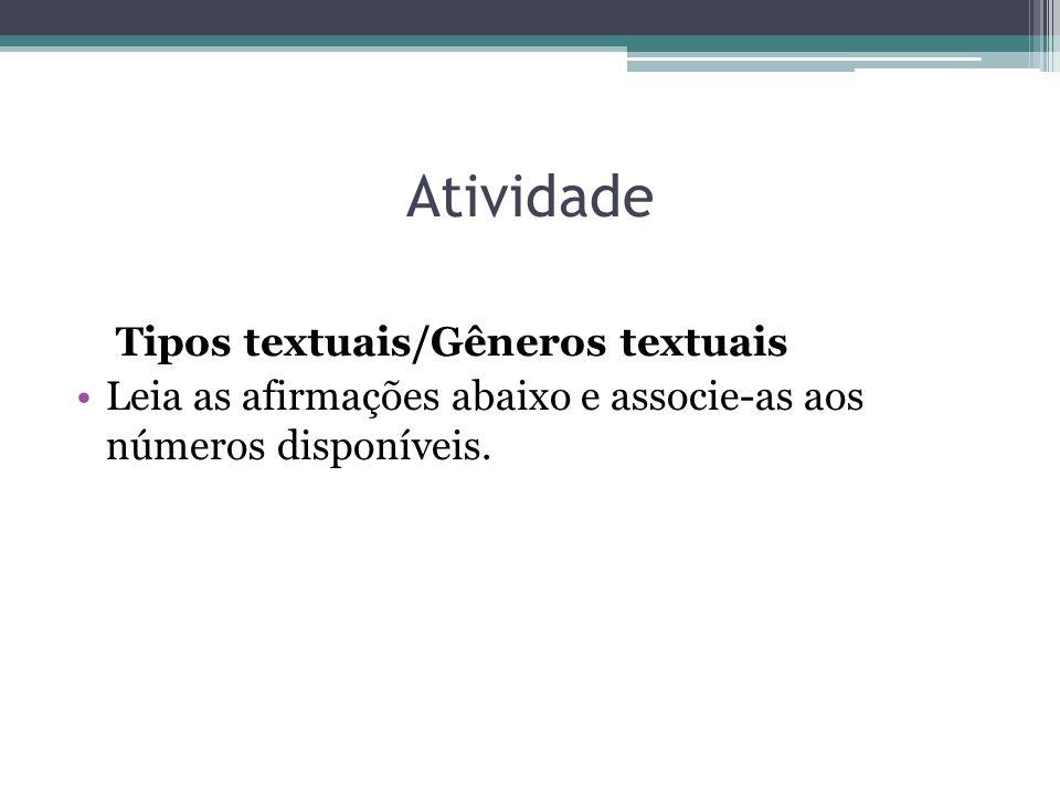 Atividade Tipos textuais/Gêneros textuais