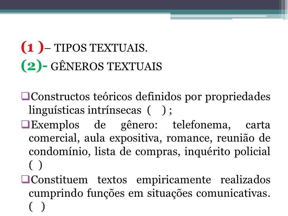 (1 )– TIPOS TEXTUAIS. (2)- GÊNEROS TEXTUAIS