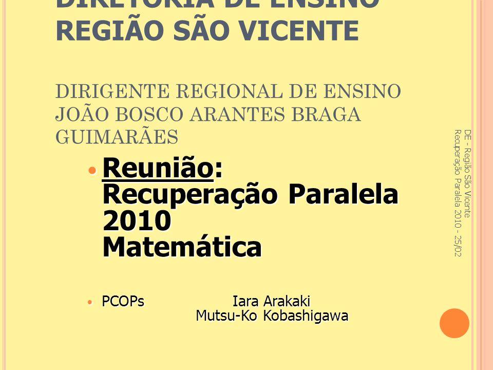 Reunião: Recuperação Paralela 2010 Matemática
