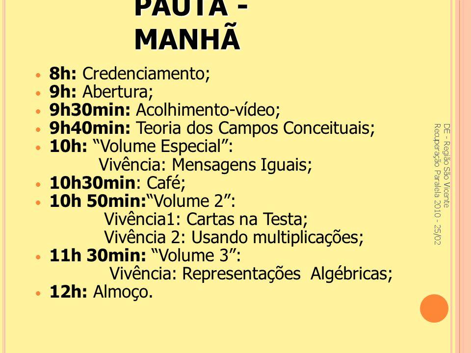 PAUTA - MANHÃ 8h: Credenciamento; 9h: Abertura;