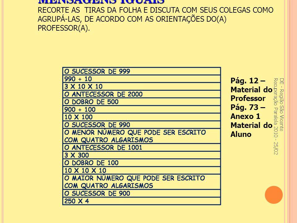 MENSAGENS IGUAIS RECORTE AS TIRAS DA FOLHA E DISCUTA COM SEUS COLEGAS COMO AGRUPÁ-LAS, DE ACORDO COM AS ORIENTAÇÕES DO(A) PROFESSOR(A).
