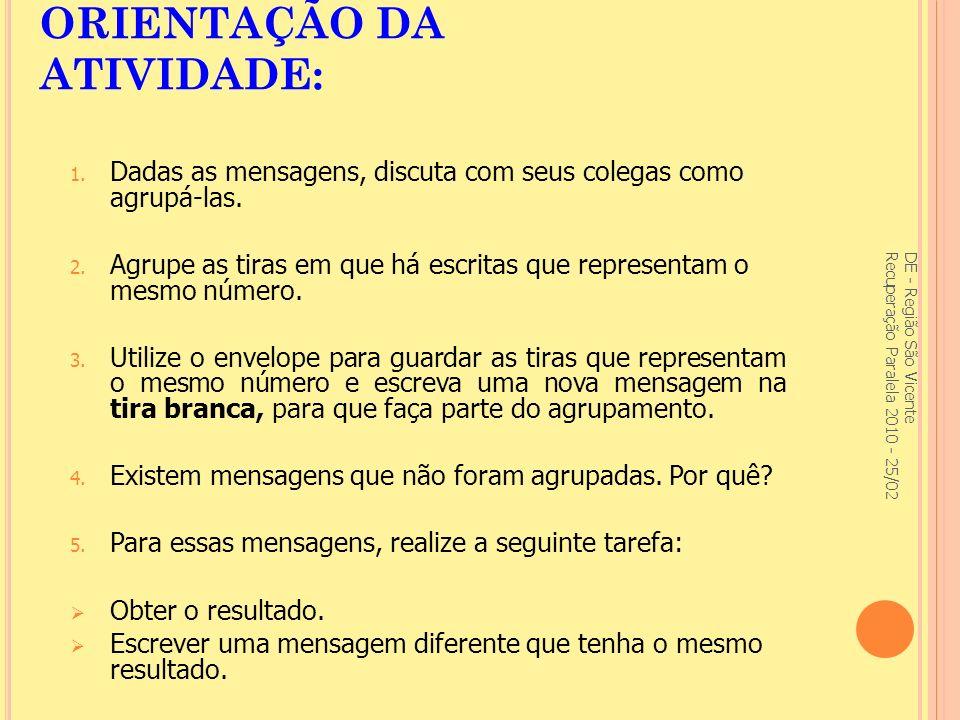 ORIENTAÇÃO DA ATIVIDADE: