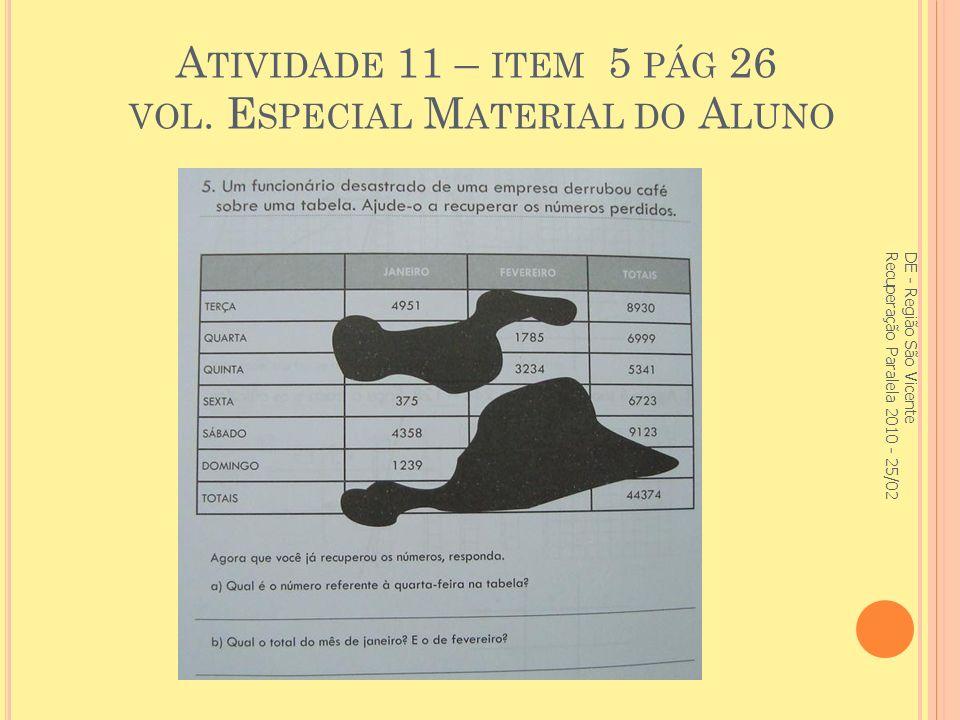 Atividade 11 – item 5 pág 26 vol. Especial Material do Aluno