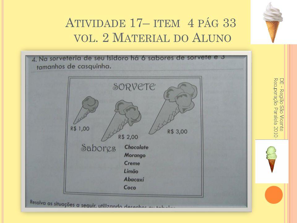 Atividade 17– item 4 pág 33 vol. 2 Material do Aluno