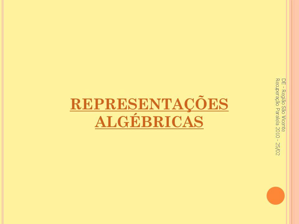 REPRESENTAÇÕES ALGÉBRICAS