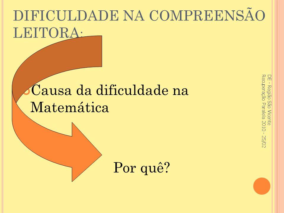 DIFICULDADE NA COMPREENSÃO LEITORA: