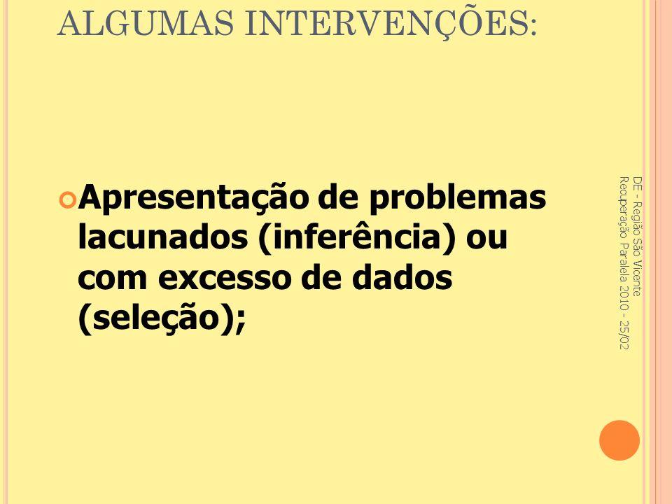ALGUMAS INTERVENÇÕES: