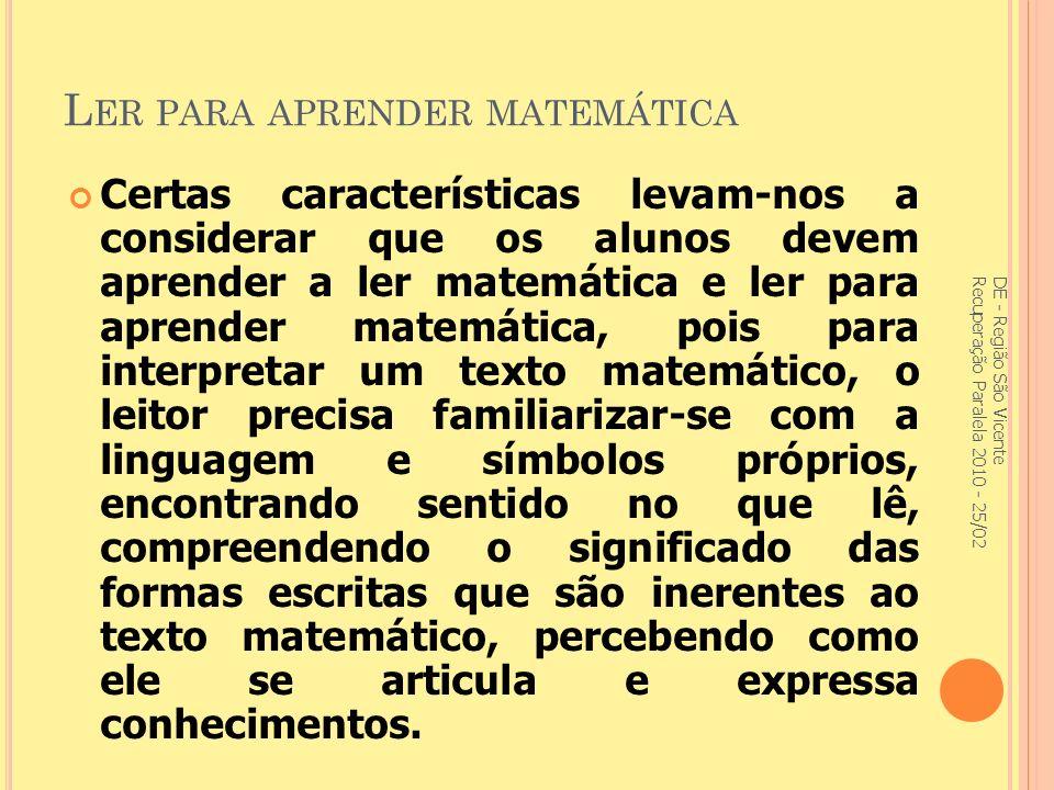 Ler para aprender matemática