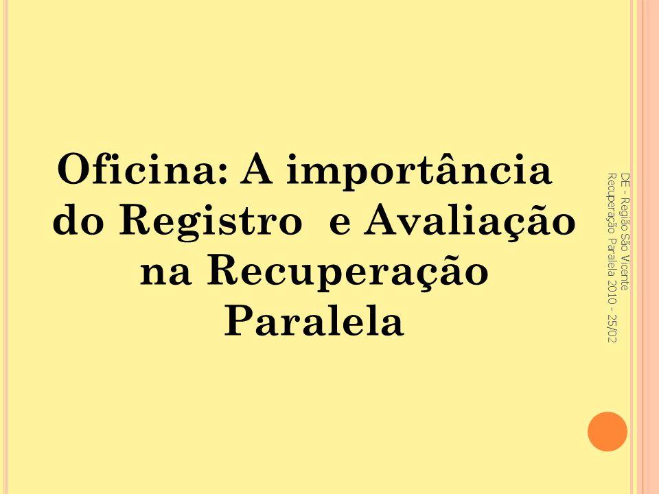 Oficina: A importância do Registro e Avaliação na Recuperação Paralela
